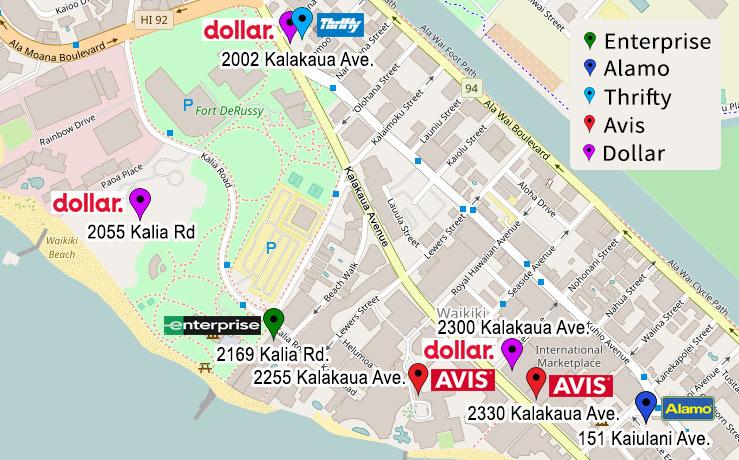 Waikiki Beach Car Rental Locations